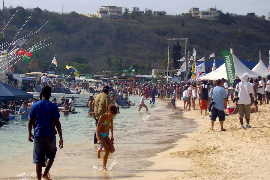 Crowd on Sandy Ground for Carnival Anguilla